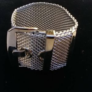 Wide Belt Buckle Mesh Wrist Band Bracelet
